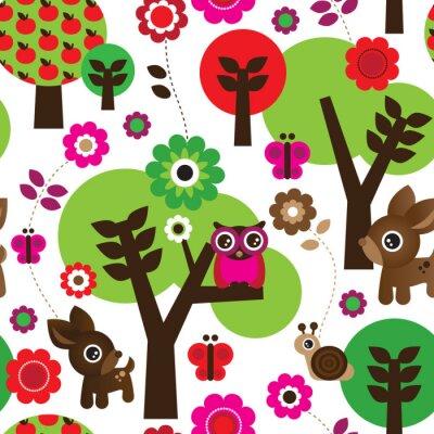 Cuadro Búho granja modelo animal árbol inconsútil en vector