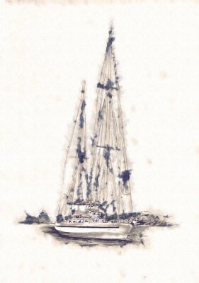 Cuadro Buque en el mar o ilustración de arte del océano