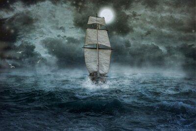 Cuadro Buque, mar, océano, azul, nubes, agua, vela, tormenta