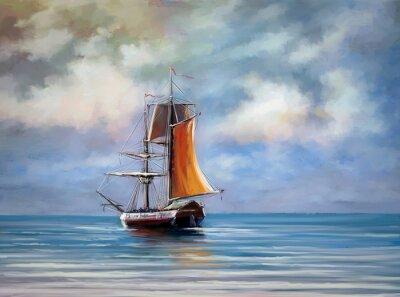 Cuadro Buque, mar. Paisaje. Óleo pinturas digitales.