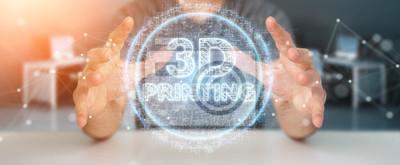 Cuadro Businessman using 3D printing digital hologram 3D rendering