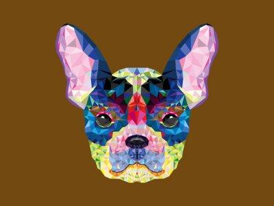 Cuadro Cabeza de bulldog francés en el patrón geométrico