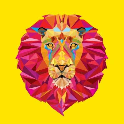 Cuadro Cabeza de león en el patrón geométrico