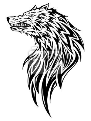 Cabeza De Lobo Tatuaje Pinturas Para La Pared Cuadros Agresión