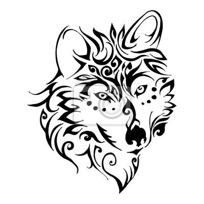 Cabeza De Lobo Vector Tribal Del Tatuaje Pinturas Para La Pared