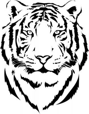 Cuadro cabeza de tigre en la interpretación de negro 2