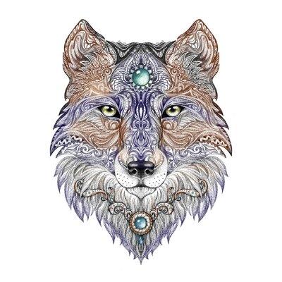 Cuadro Cabeza tatuaje lobo bestia salvaje de presa