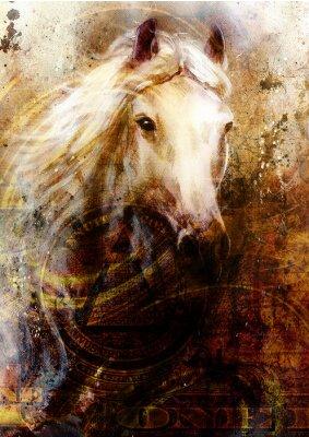 Cuadro Cabezas de caballo, fondo ocre abstracto, con un dólar collage.