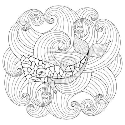 Cachalote en olas, estilo zentangle. boceto a mano alzada para ...