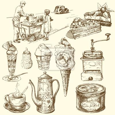 café, helados, confitería - colección de dibujado a mano