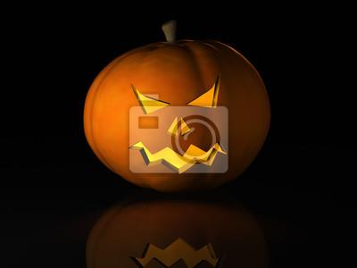 Calabaza de Halloween en una superficie reflectante negro