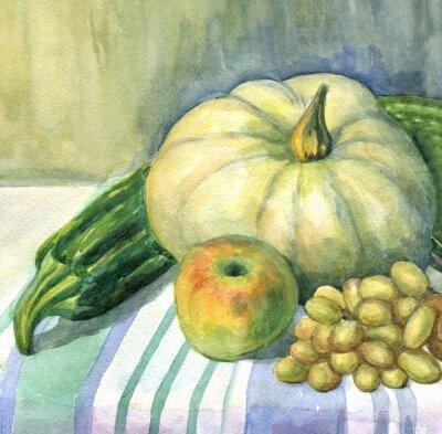 Cuadro Calabaza, manzana, calabacín, uvas, bodegón. Pintura de acuarela