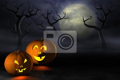 Calabazas de Halloween en un bosque tenebroso de la noche