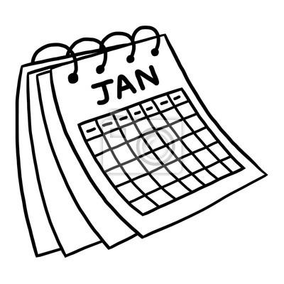 Calendario Dibujo Blanco Y Negro.Cuadro Calendario De Enero Vector De Dibujos Animados E Ilustracion