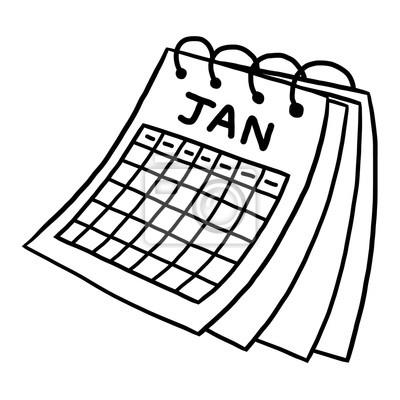 Calendario Dibujo Blanco Y Negro.Cuadro Calendario De Enero Vector De Dibujos Animados Y La Ilustracion
