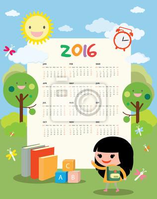 Calendario para niños pinturas para la pared • cuadros º, 2016 ...
