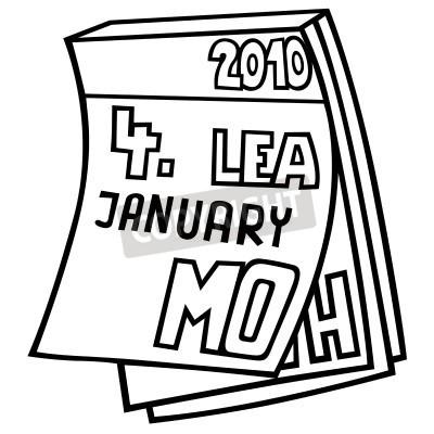 Calendario Dibujo Blanco Y Negro.Cuadro Calendario Tear Off Ilustracion De Dibujos Animados Blanco