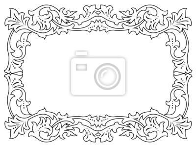 Caligrafía caligrafía rizado negro marco barroco pinturas para la ...
