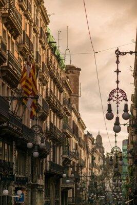 Cuadro Calle de Barcelona con muchos faroles