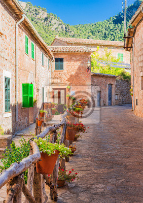 Calle pintoresca con flores en el antiguo pueblo mediterráneo Valldemossa Mallorca
