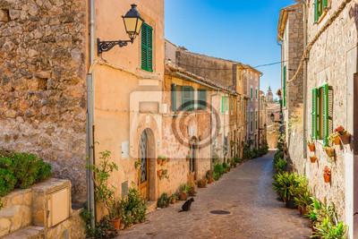 Calle pintoresca en España Pueblo viejo de Mallorca Valldemossa