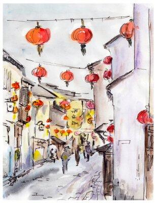 Cuadro Calle vieja de la ciudad en China, linternas rojas chinas tradicionales