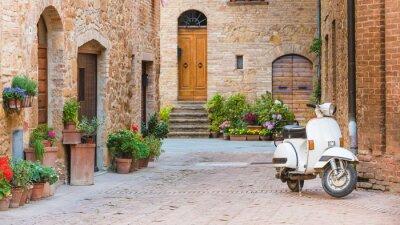 Cuadro Calles italianas en el pequeño pueblo de la Toscana y un popular-tr sola