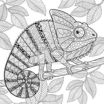 Camaleón en estilo zentangle. adulto antistress para colorear ...