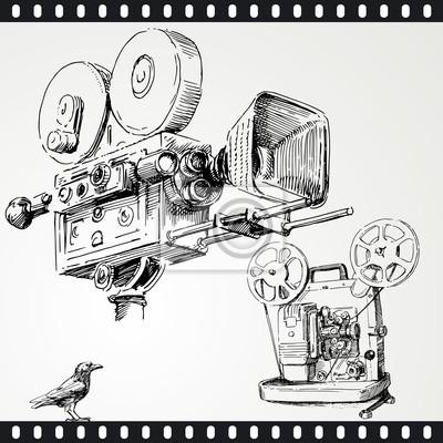 cámara de cine - conjunto de dibujado a mano