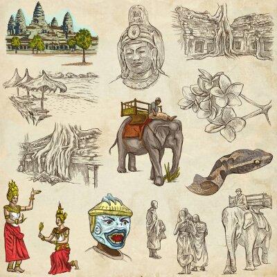 Cuadro Camboya - Un dibujado a mano ilustraciones. Paquete Frehand.