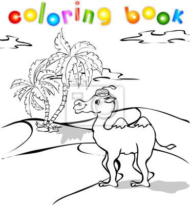 Camello de la historieta en el libro para colorear desierto pinturas ...