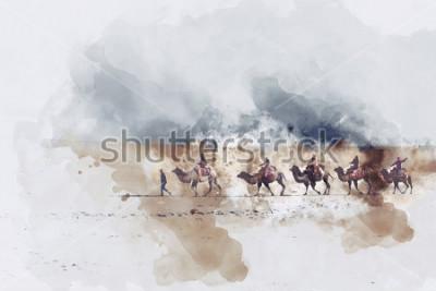 Cuadro Camellos y gente caminando en el camino de la seda y la duna de arena del desierto, ilustración digital en acuarela