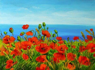 Cuadro campo de amapolas cerca del mar, costa colorido, pintura al óleo del arte