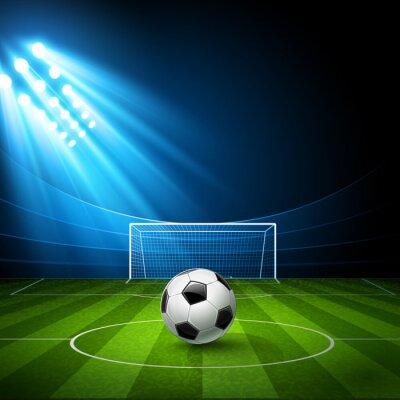 Cuadro Campo de fútbol con un balón de fútbol. Vector