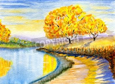 Cuadro Campo de otoño, dibujado a mano, ilustración de acuarela y textura de papel