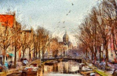 Cuadro Canal de Amsterdam en la pintura impresionista de la mañana