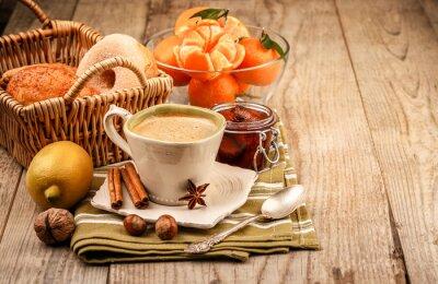 Cuadro Cappuccino café en taza y frutas para el desayuno