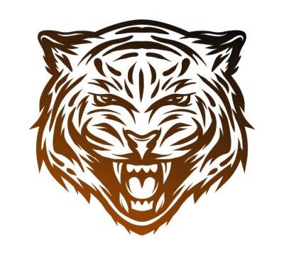 Cuadro Cara agresiva del tigre. Estilo de línea de arte.