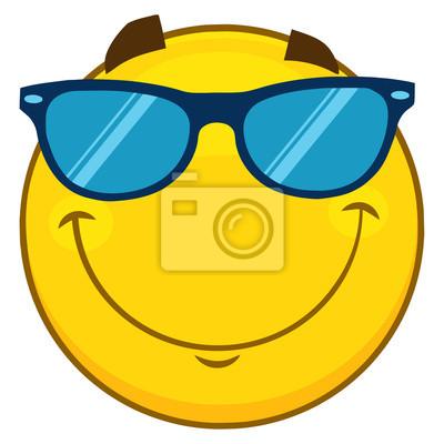 Cuadro Cara Amarilla Sonriente Emoji Cara Con Gafas De Sol. Ilustración  aislada sobre fondo blanco 92e90fac5a4a