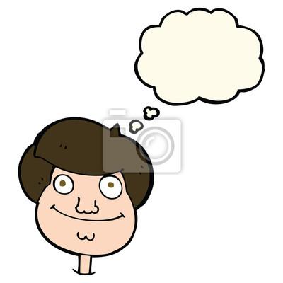 Cara De Dibujos Animados De Niño Feliz Con La Burbuja Del