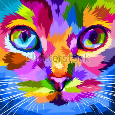 Cuadro cara de gato cerca de ojos coloridos