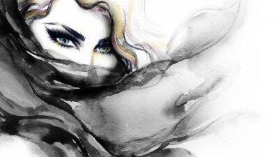 Cuadro Cara de la mujer. Ilustración de la moda. Pintura de acuarela