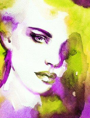 Cuadro Cara de la mujer. Pintado a mano ilustración de moda