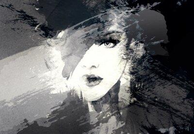 Cuadro Cara de mujer hermosa. Ilustración abstracta de la acuarela de la manera