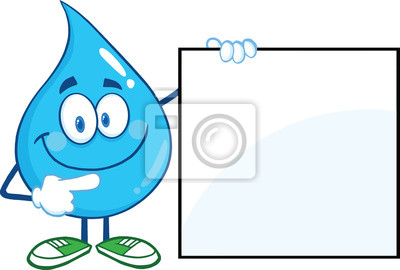 Carácter De La Gota De Agua De Dibujos Animados Mascota Muestra