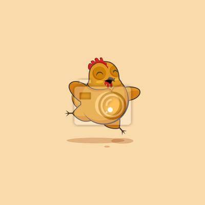 Caricatura De Personaje Emoji Gallina Saltando De Alegría Pinturas