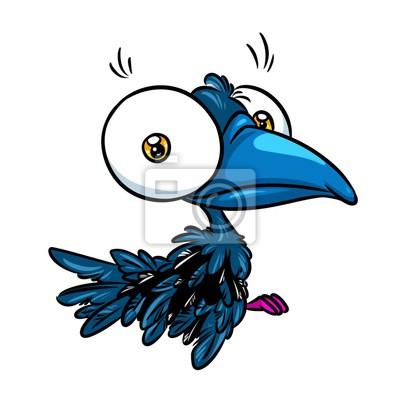 Caricatura Pájaro Cuervo Grandes Ojos Dibujos Animados