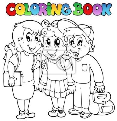 Caricaturas escolares libro para colorear 6 pinturas para la pared ...