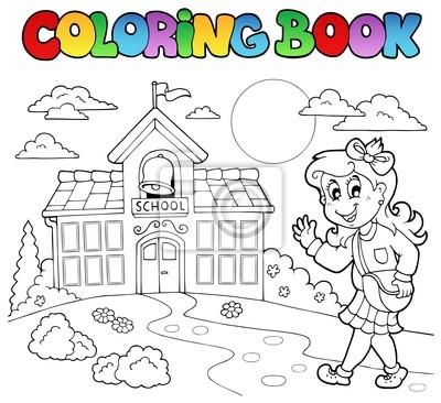 Caricaturas escolares libro para colorear 8 pinturas para la pared ...