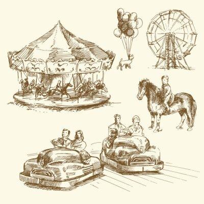 carrusel - colección de dibujado a mano